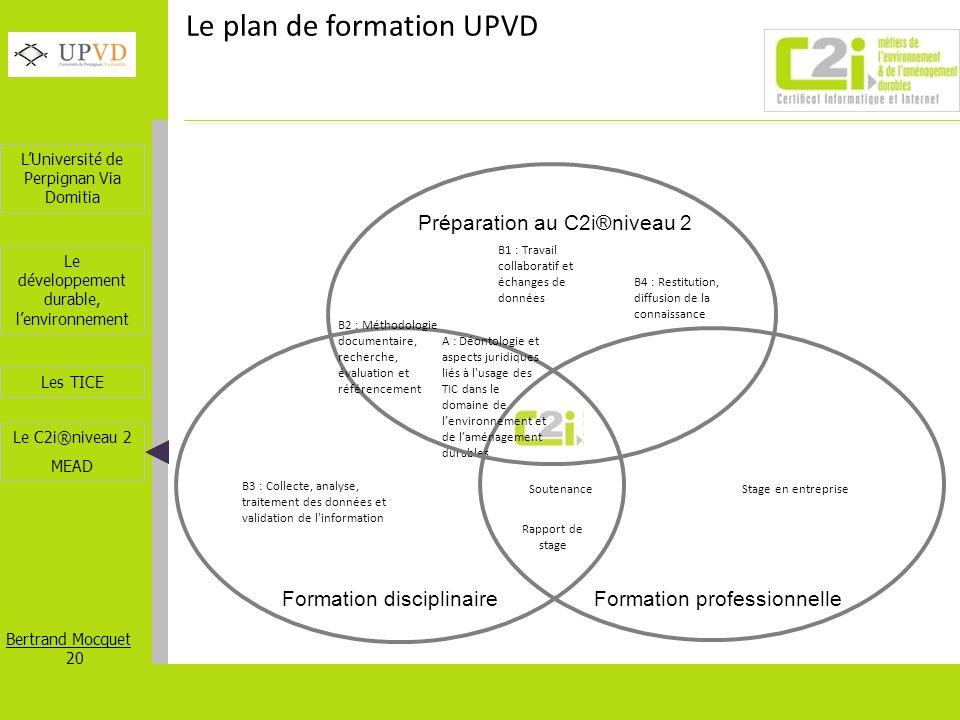 LUniversité de Perpignan Via Domitia Bertrand Mocquet 20 Les TICE Le développement durable, lenvironnement Le C2i®niveau 2 MEAD B1 : Travail collabora