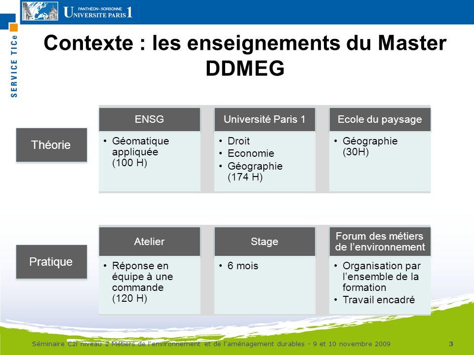 Contexte : les enseignements du Master DDMEG ENSG Géomatique appliquée (100 H) Université Paris 1 Droit Economie Géographie (174 H) Ecole du paysage G