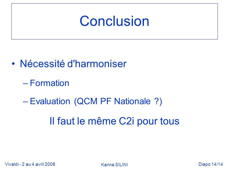 Vivaldi - 2 au 4 avril 2008 Karine SILINI Diapo 14/14 Conclusion Nécessité d harmoniser –Formation –Evaluation (QCM PF Nationale ) Il faut le même C2i pour tous
