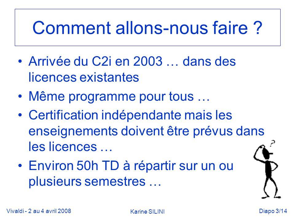 Vivaldi - 2 au 4 avril 2008 Karine SILINI Diapo 3/14 Comment allons-nous faire .