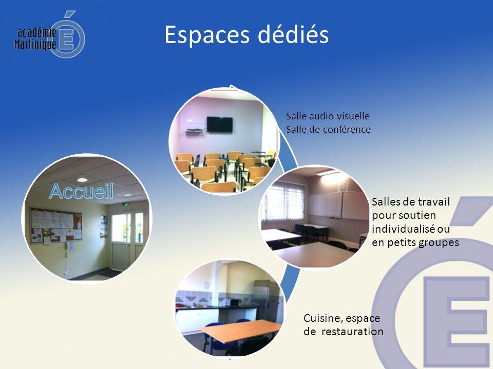 Espaces dédiés Salle audio-visuelle Salle de conférence Salles de travail pour soutien individualisé ou en petits groupes Cuisine, espace de restauration