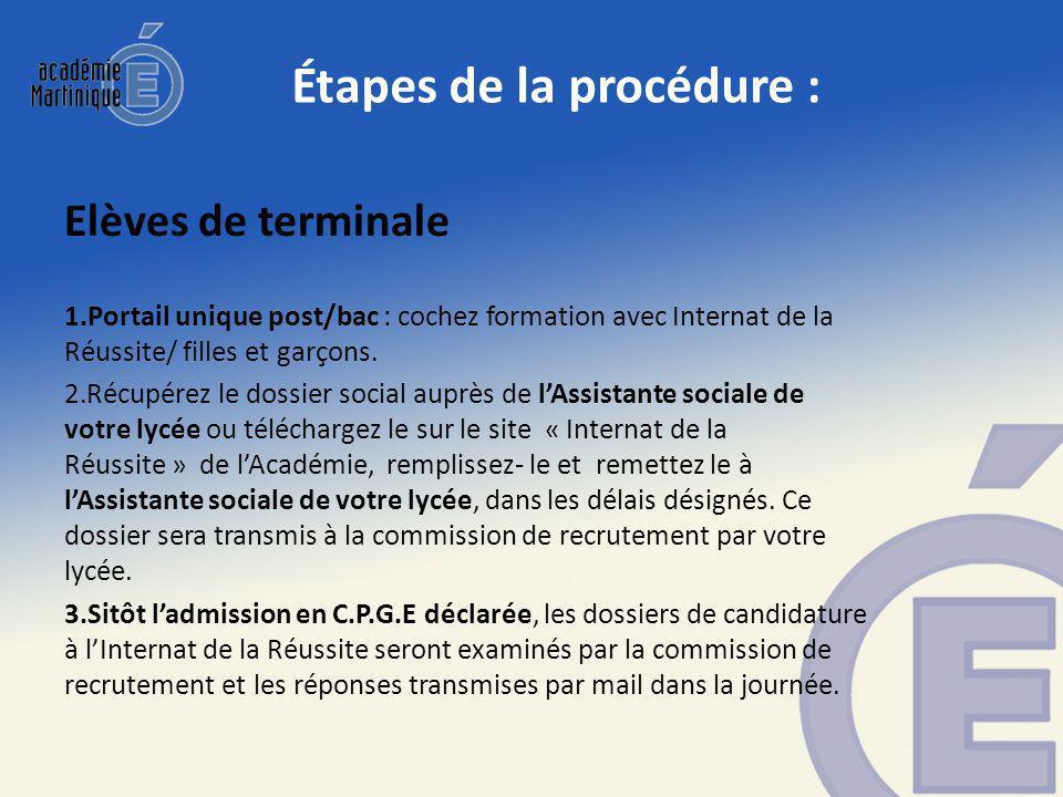 Étapes de la procédure : Elèves de terminale 1.Portail unique post/bac : cochez formation avec Internat de la Réussite/ filles et garçons.
