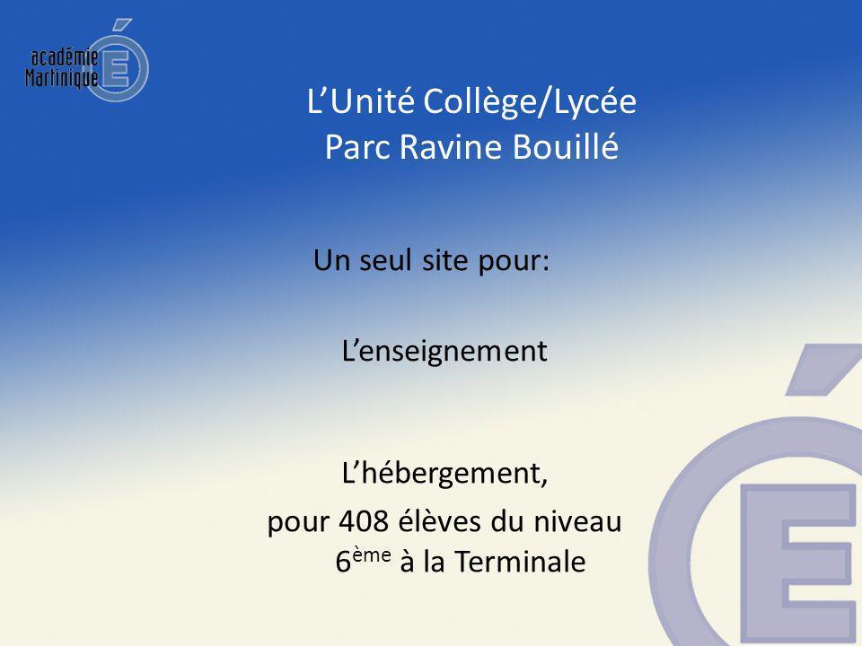 Lenseignement Lhébergement, pour 408 élèves du niveau 6 ème à la Terminale Un seul site pour: