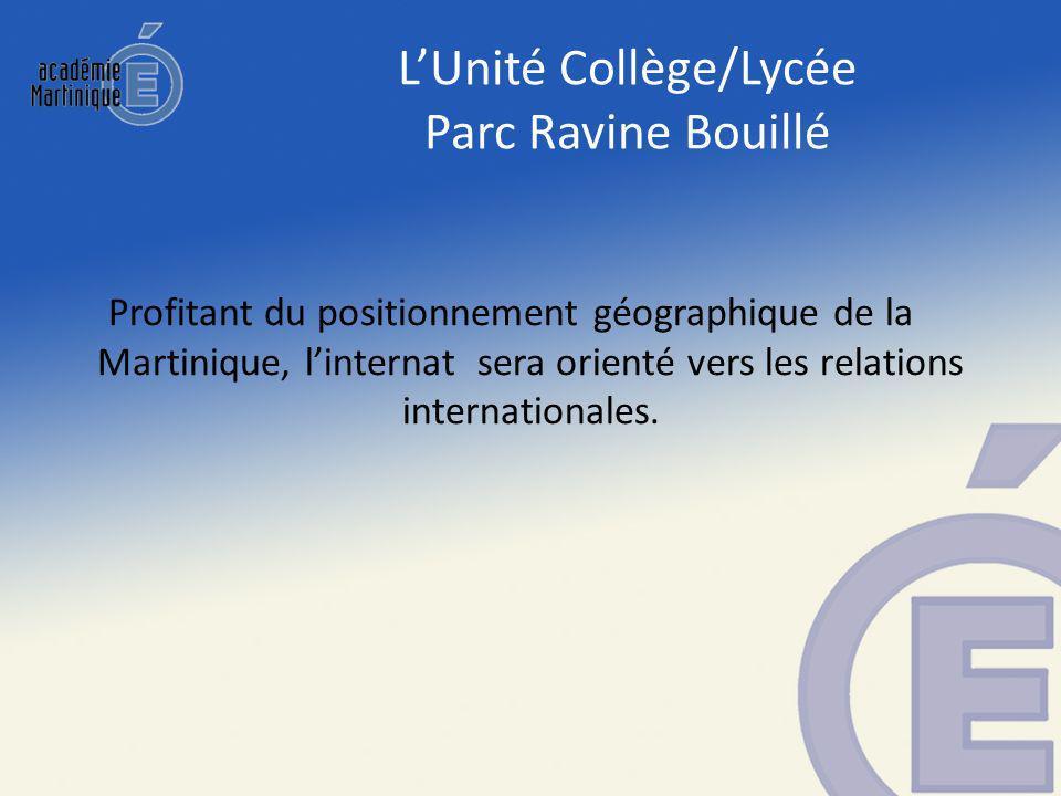 Profitant du positionnement géographique de la Martinique, linternat sera orienté vers les relations internationales.