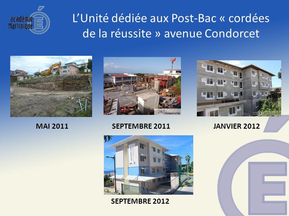 MAI 2011SEPTEMBRE 2011 SEPTEMBRE 2012 LUnité dédiée aux Post-Bac « cordées de la réussite » avenue Condorcet JANVIER 2012