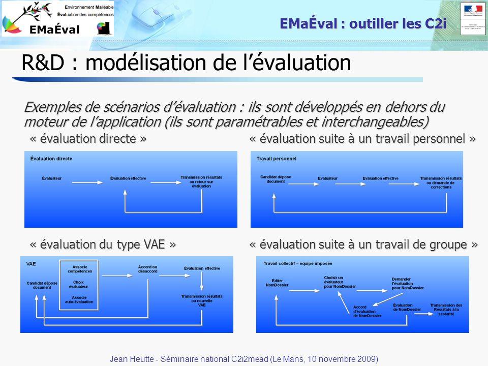 17 EMaÉval : outiller les C2i R&D : modélisation de lévaluation Exemples de scénarios dévaluation : ils sont développés en dehors du moteur de lapplic