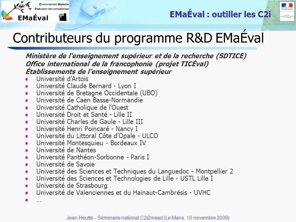 35 EMaÉval : outiller les C2i Contributeurs du programme R&D EMaÉval Ministère de l'enseignement supérieur et de la recherche (SDTICE) Office internat