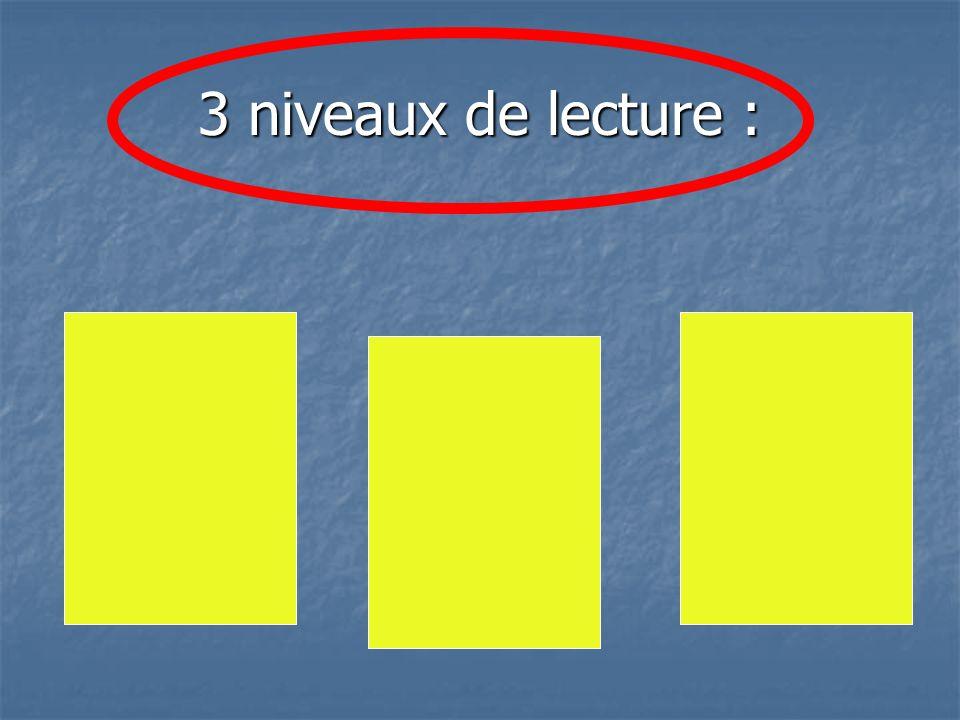 3 niveaux de lecture :