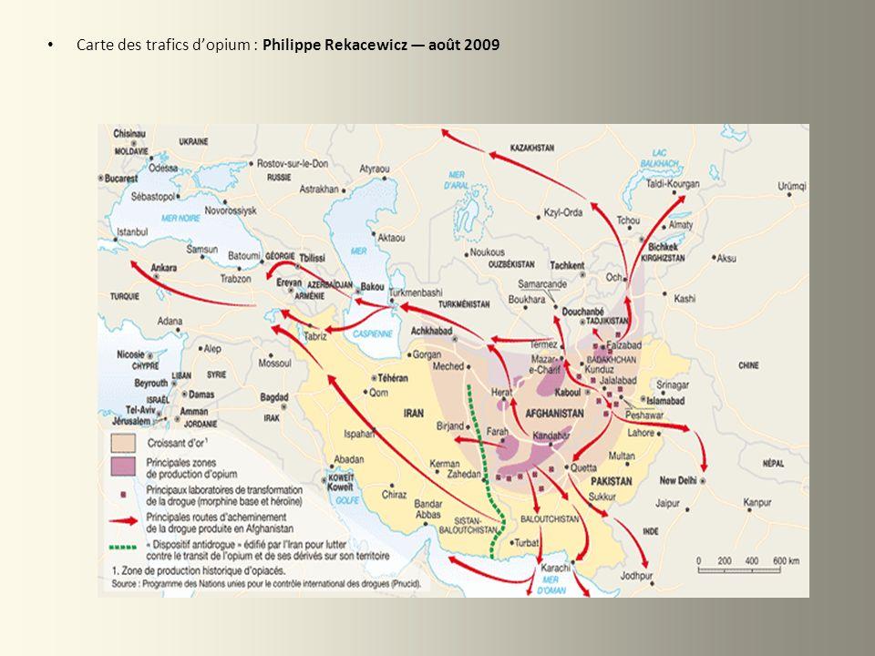 Carte des trafics dopium : Philippe Rekacewicz août 2009