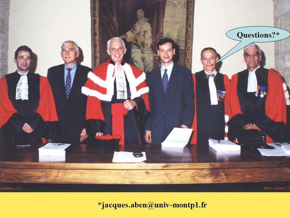Questions * *jacques.aben@univ-montp1.fr