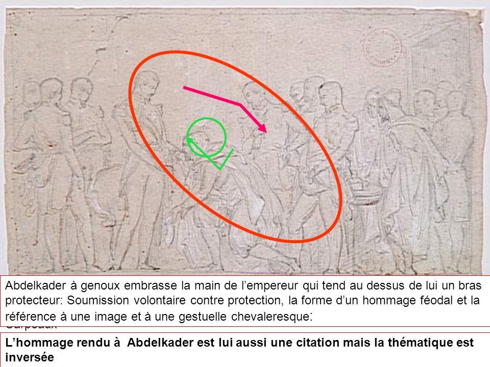 Jean-Baptiste CARPEAUX (1827-1875) La soumission d'Abd el-Kader à Saint-Cloud Lempereur reçoit Abdelkader au palais de Saint-Cloud, dessin préparatoir