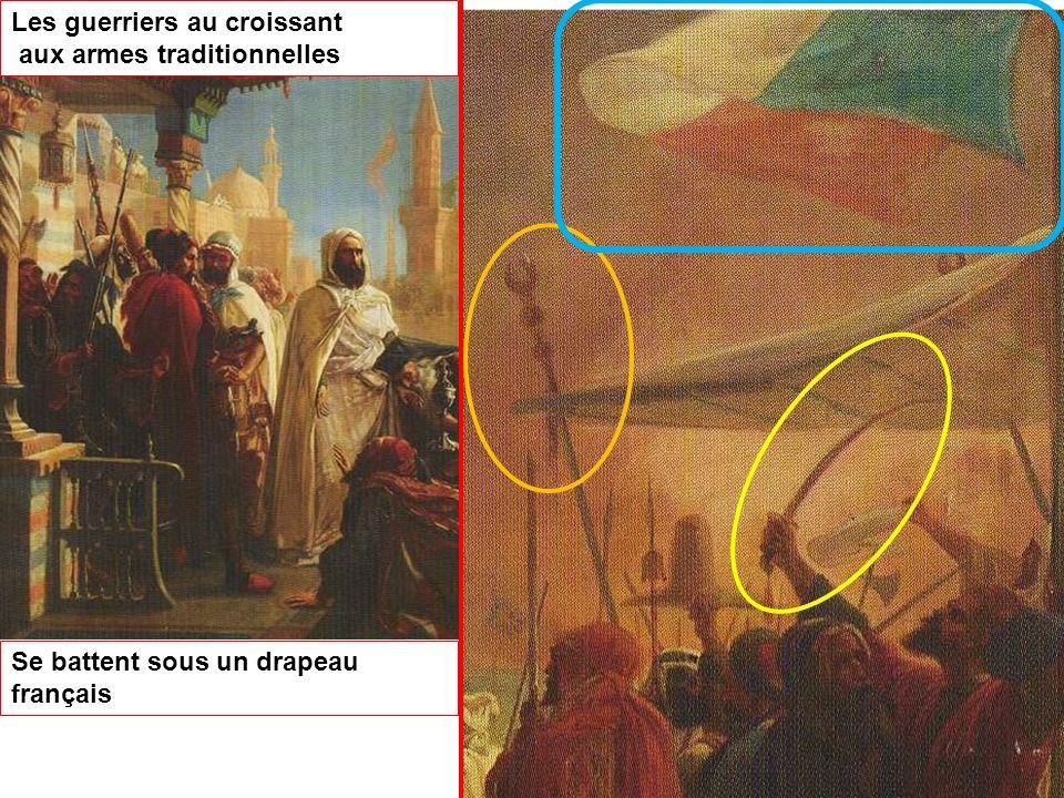 Les guerriers au croissant aux armes traditionnelles Se battent sous un drapeau français