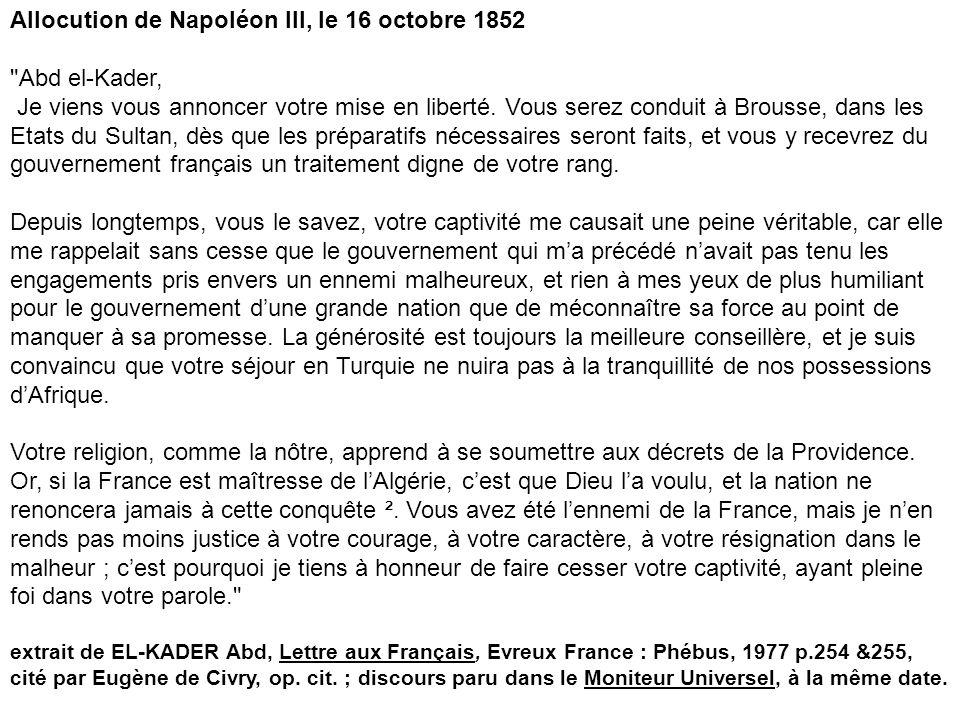 Allocution de Napoléon III, le 16 octobre 1852
