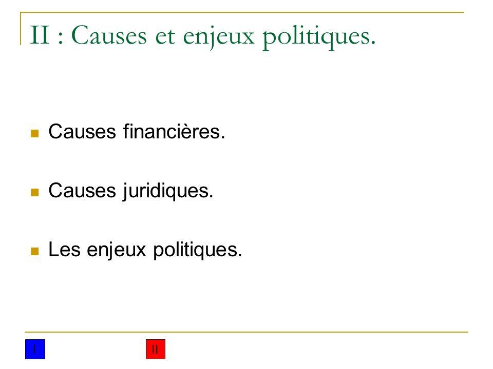 II : Causes et enjeux politiques. Causes financières. Causes juridiques. Les enjeux politiques. III