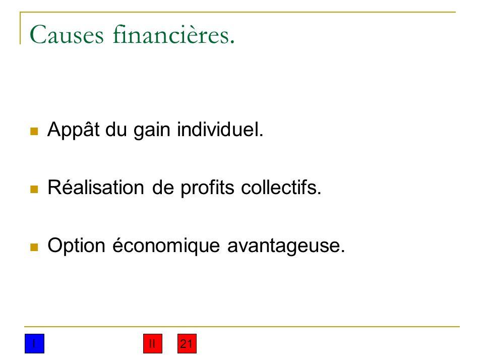 Causes financières. Appât du gain individuel. Réalisation de profits collectifs. Option économique avantageuse. III21