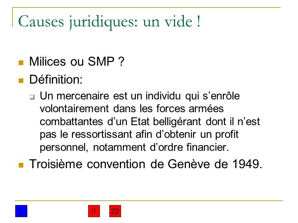 Causes juridiques: un vide ! Milices ou SMP ? Définition: Un mercenaire est un individu qui senrôle volontairement dans les forces armées combattantes