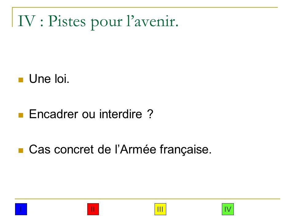 IV : Pistes pour lavenir. Une loi. Encadrer ou interdire ? Cas concret de lArmée française. IIIIIIIV