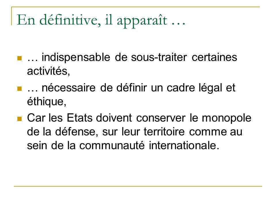 En définitive, il apparaît … … indispensable de sous-traiter certaines activités, … nécessaire de définir un cadre légal et éthique, Car les Etats doi