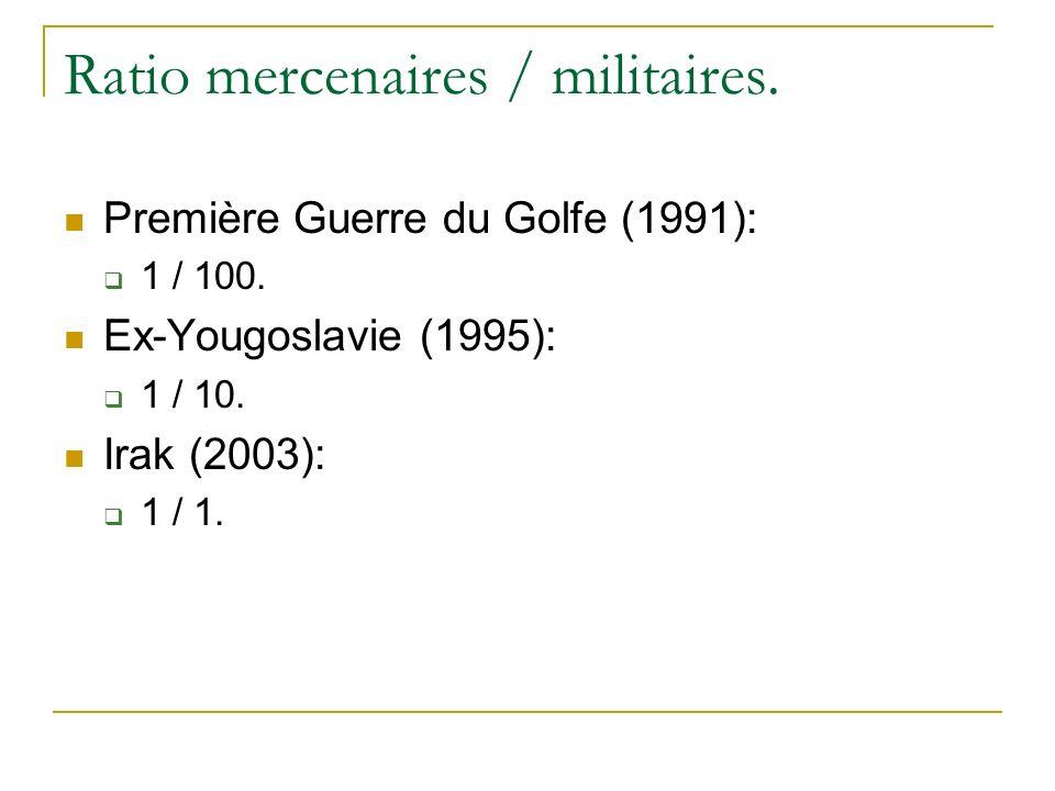 Ratio mercenaires / militaires. Première Guerre du Golfe (1991): 1 / 100. Ex-Yougoslavie (1995): 1 / 10. Irak (2003): 1 / 1.
