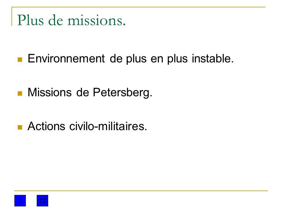 Plus de missions. Environnement de plus en plus instable. Missions de Petersberg. Actions civilo-militaires. I12