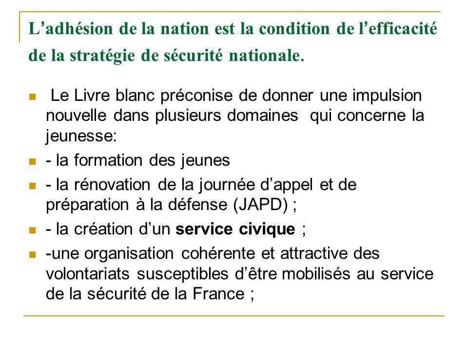 L adhésion de la nation est la condition de l efficacité de la stratégie de sécurité nationale. Le Livre blanc préconise de donner une impulsion nouve