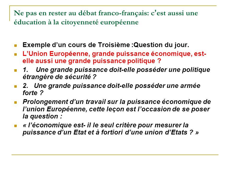 Ne pas en rester au débat franco-français: c est aussi une éducation à la citoyenneté européenne Exemple dun cours de Troisième :Question du jour. LUn