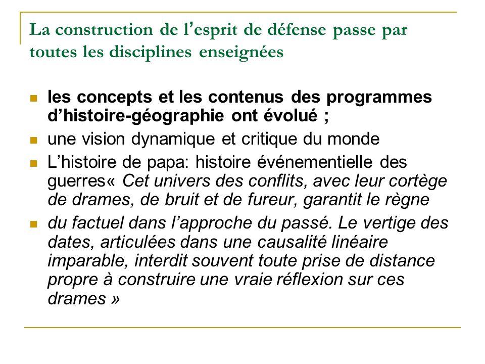 La construction de l esprit de défense passe par toutes les disciplines enseignées les concepts et les contenus des programmes dhistoire-géographie on