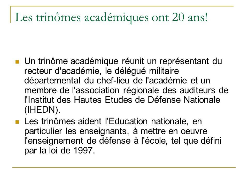 Les trinômes académiques ont 20 ans! Un trinôme académique réunit un représentant du recteur d'académie, le délégué militaire départemental du chef-li