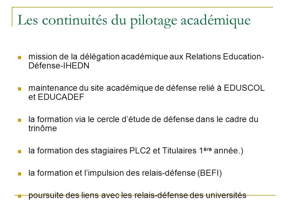 Les continuités du pilotage académique mission de la délégation académique aux Relations Education- Défense-IHEDN maintenance du site académique de dé