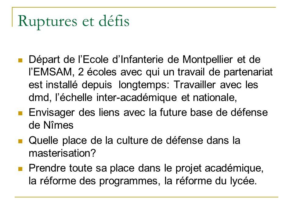 Ruptures et défis Départ de lEcole dInfanterie de Montpellier et de lEMSAM, 2 écoles avec qui un travail de partenariat est installé depuis longtemps: