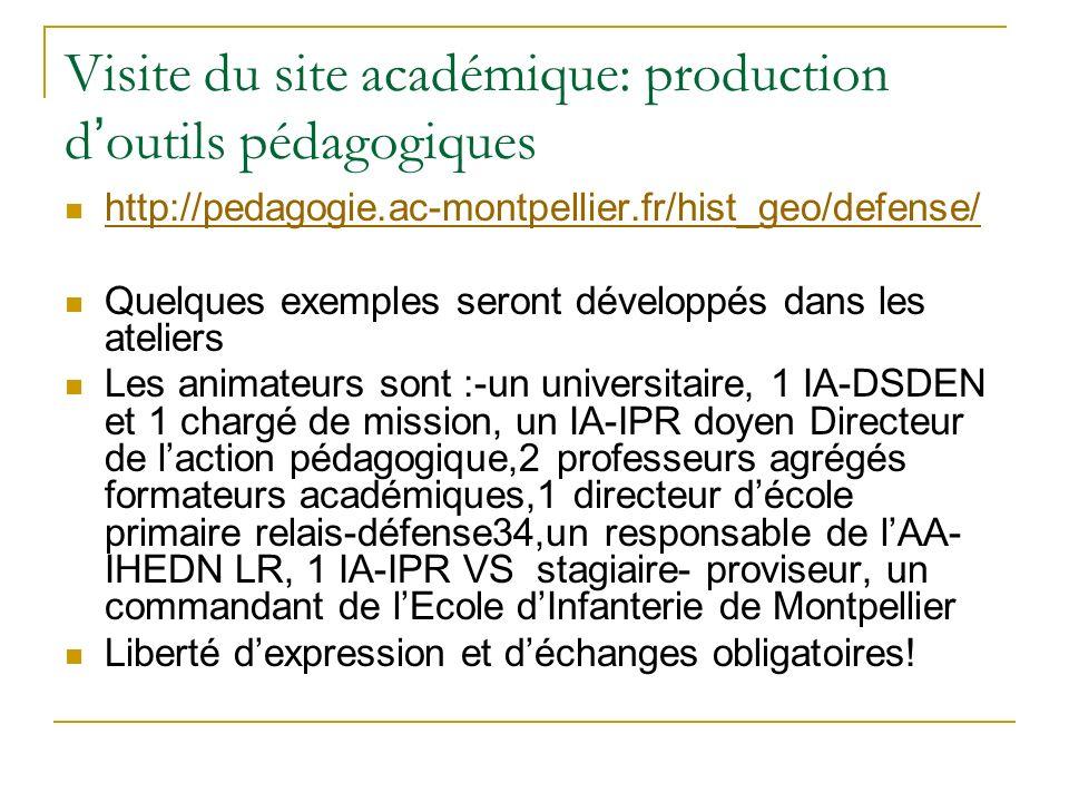 Visite du site académique: production d outils pédagogiques http://pedagogie.ac-montpellier.fr/hist_geo/defense/ Quelques exemples seront développés d