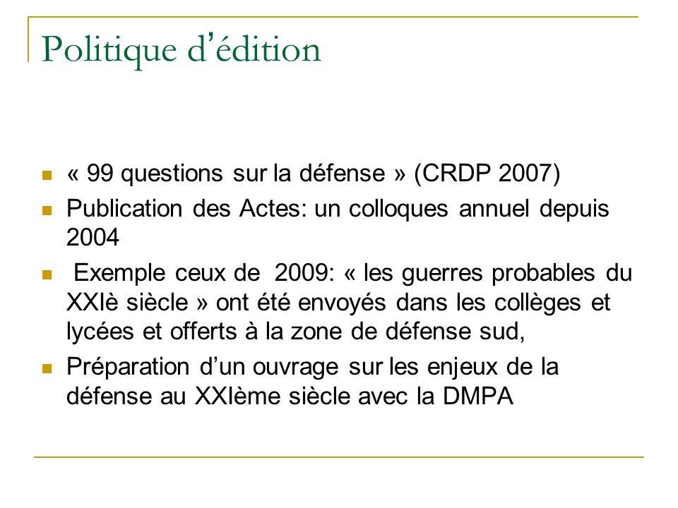 Politique d édition « 99 questions sur la défense » (CRDP 2007) Publication des Actes: un colloques annuel depuis 2004 Exemple ceux de 2009: « les gue