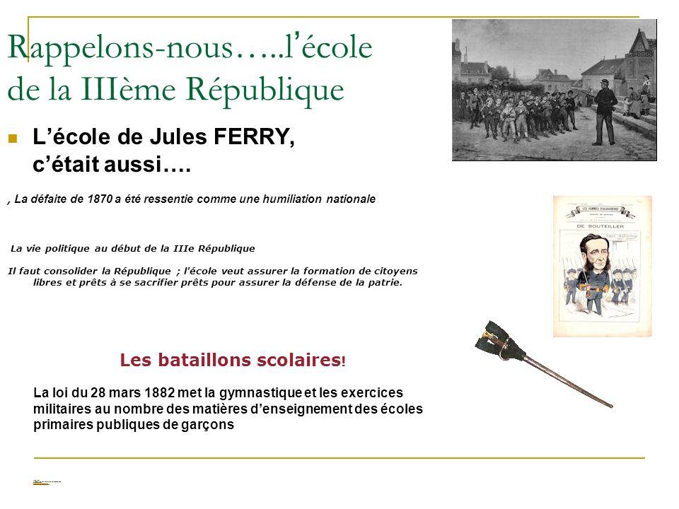 Rappelons-nous…..l école de la IIIème République Lécole de Jules FERRY, cétait aussi…., La défaite de 1870 a été ressentie comme une humiliation natio