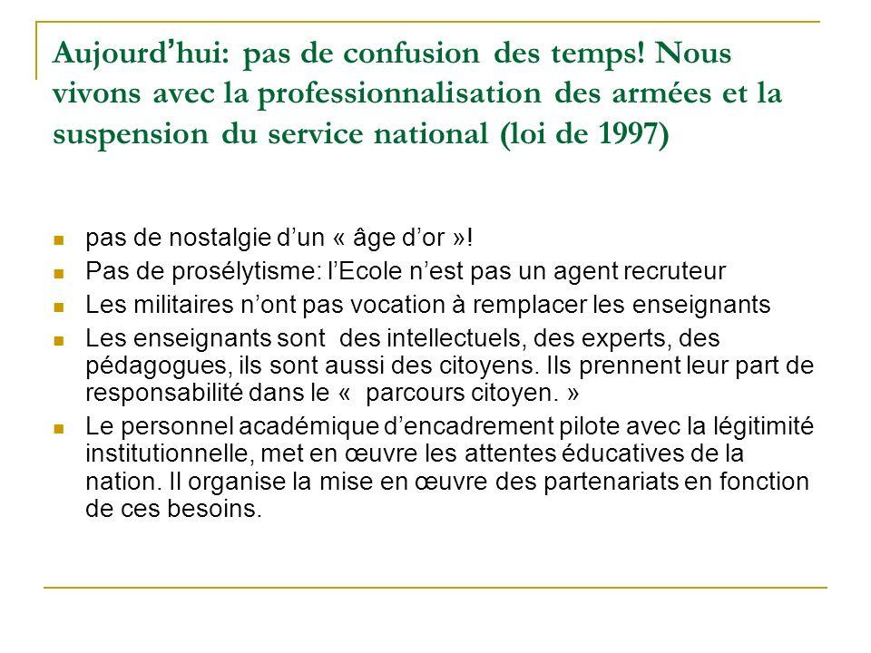 Aujourd hui: pas de confusion des temps! Nous vivons avec la professionnalisation des armées et la suspension du service national (loi de 1997) pas de