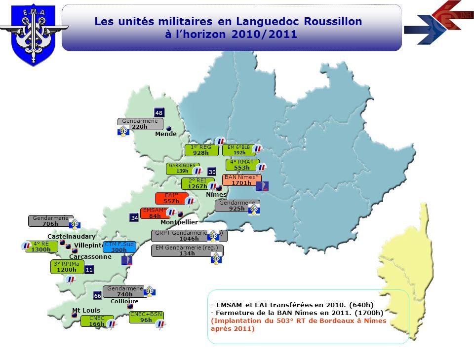 11 66 34 48 30 Montpellier Nîmes Mende Carcassonne Les unités militaires en Languedoc Roussillon à lhorizon 2010/2011 Castelnaudary Mt Louis 4° RMAT 5