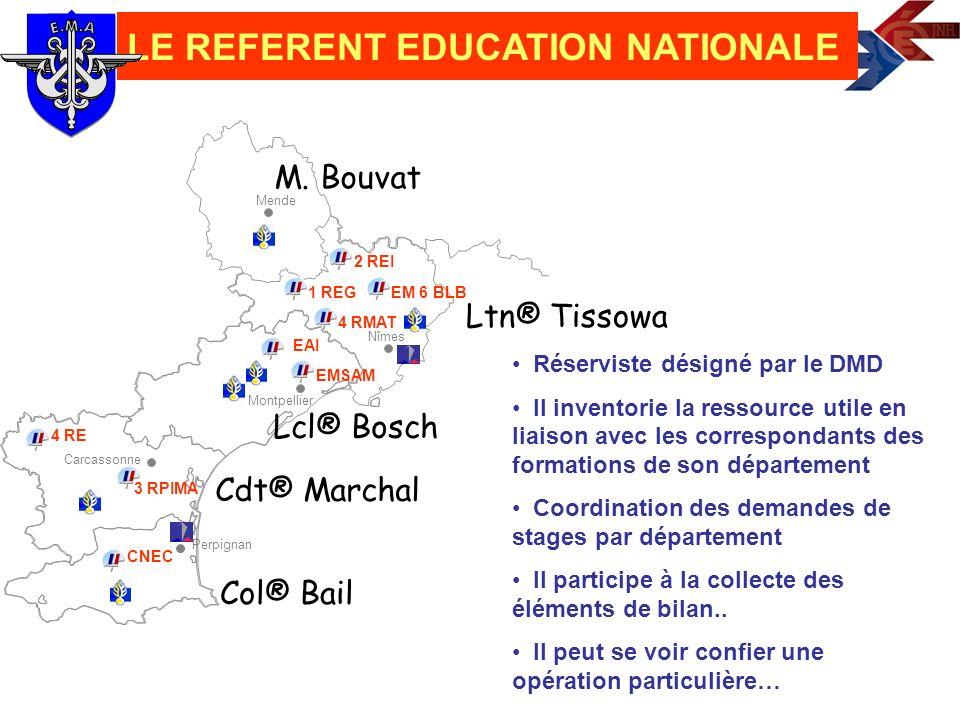 Carcassonne Montpellier Perpignan Nîmes Mende Ltn® Tissowa LE REFERENT EDUCATION NATIONALE Lcl® Bosch M. Bouvat CNEC 4 RE 3 RPIMA EM 6 BLB 2 REI 4 RMA