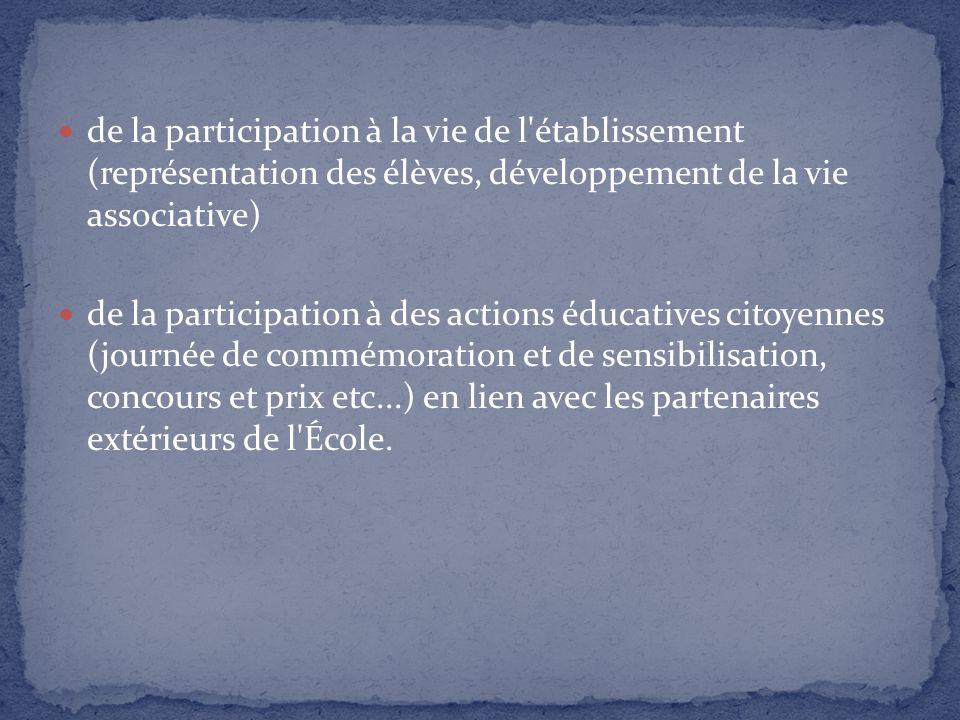 de la participation à la vie de l'établissement (représentation des élèves, développement de la vie associative) de la participation à des actions édu
