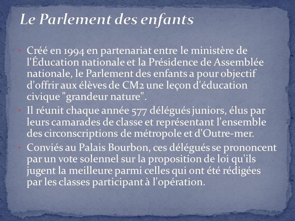 Créé en 1994 en partenariat entre le ministère de l'Éducation nationale et la Présidence de Assemblée nationale, le Parlement des enfants a pour objec