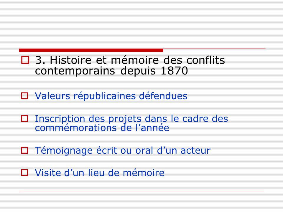 3. Histoire et mémoire des conflits contemporains depuis 1870 Valeurs républicaines défendues Inscription des projets dans le cadre des commémorations