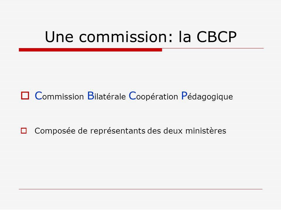 Une commission: la CBCP C ommission B ilatérale C oopération P édagogique Composée de représentants des deux ministères