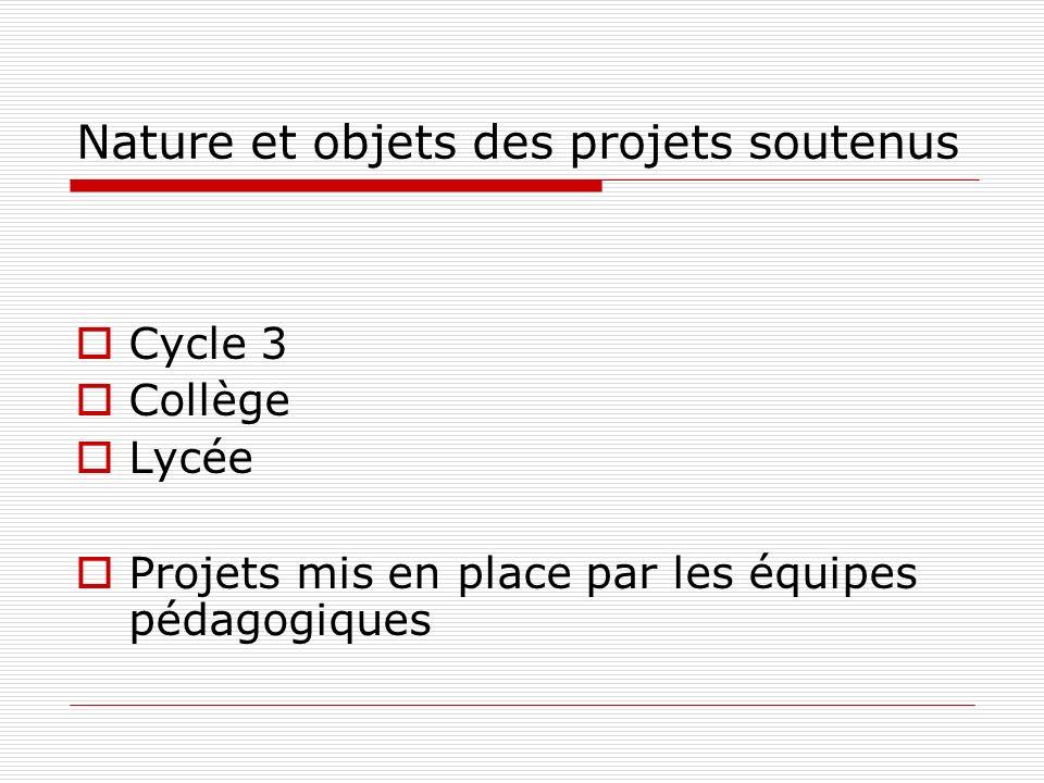 Nature et objets des projets soutenus Cycle 3 Collège Lycée Projets mis en place par les équipes pédagogiques