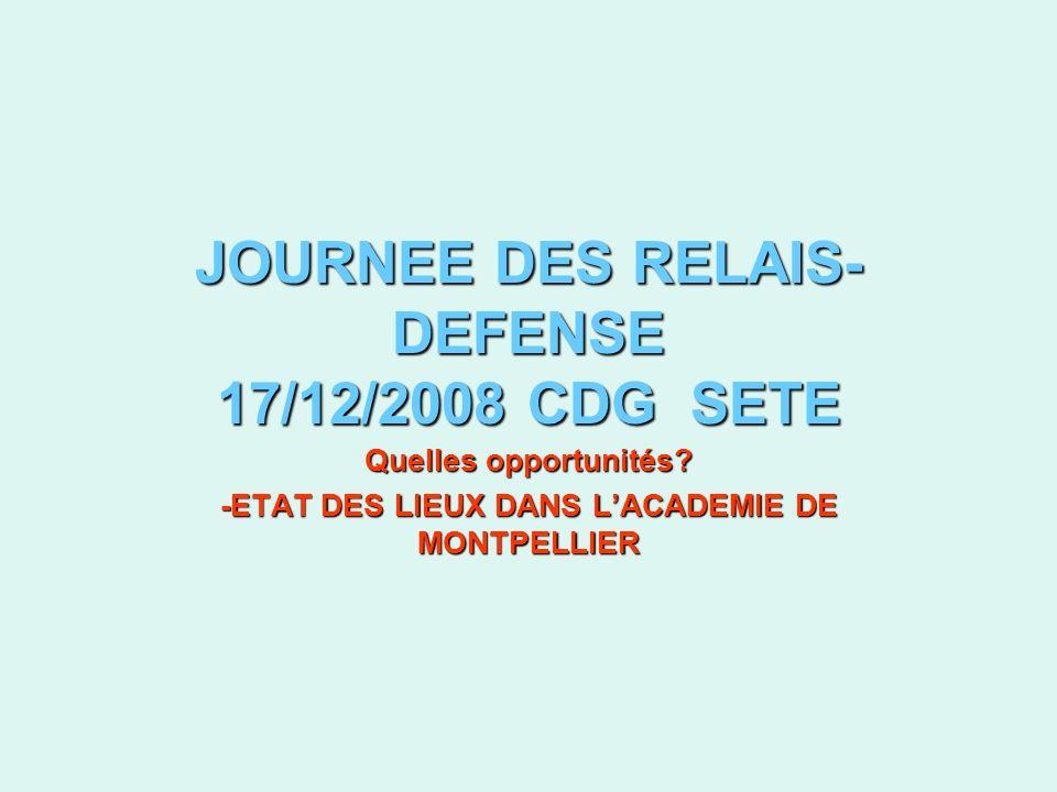 JOURNEE DES RELAIS- DEFENSE 17/12/2008 CDG SETE Quelles opportunités.