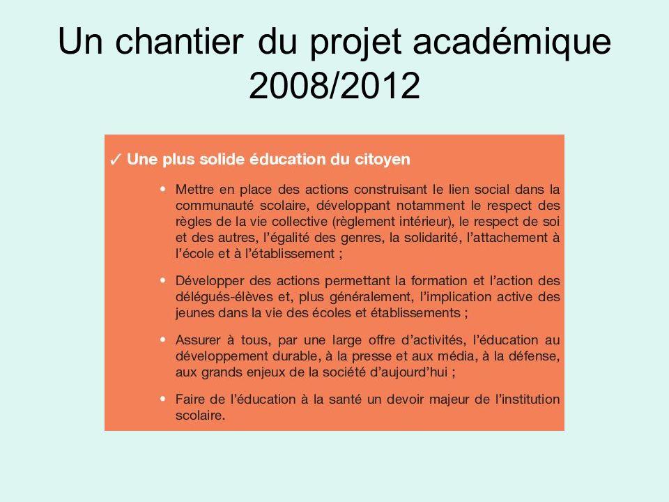Un chantier du projet académique 2008/2012