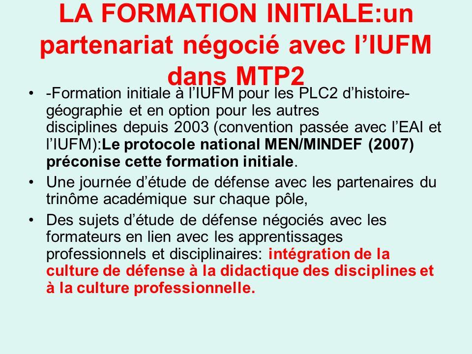 LA FORMATION INITIALE:un partenariat négocié avec lIUFM dans MTP2 -Formation initiale à lIUFM pour les PLC2 dhistoire- géographie et en option pour les autres disciplines depuis 2003 (convention passée avec lEAI et lIUFM):Le protocole national MEN/MINDEF (2007) préconise cette formation initiale.