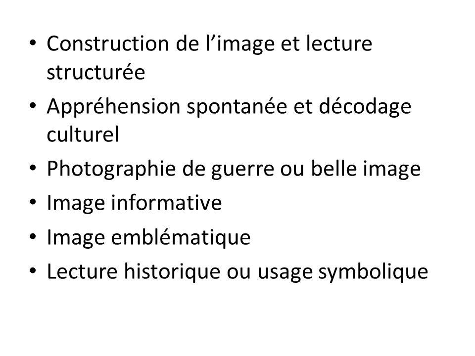 Construction de limage et lecture structurée Appréhension spontanée et décodage culturel Photographie de guerre ou belle image Image informative Image