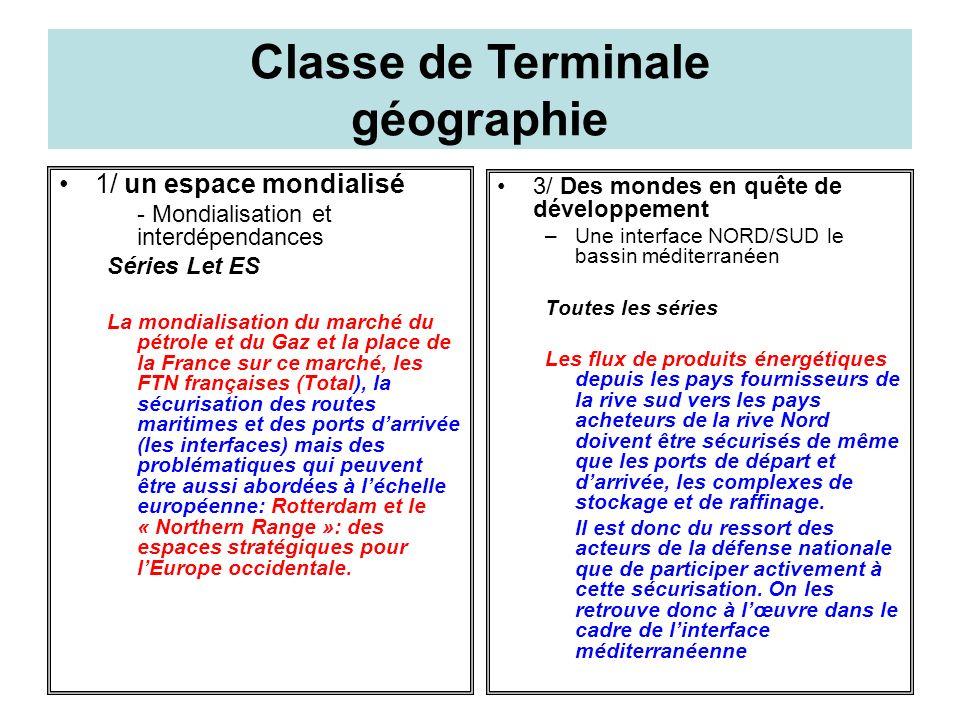 Classe de Terminale histoire 3/ La France de 1945 à nos jours - La France dans le monde Séries L ES et S Par quel moyens la France assure-t-elle la sécurité de ses approvisionnements énergétiques.
