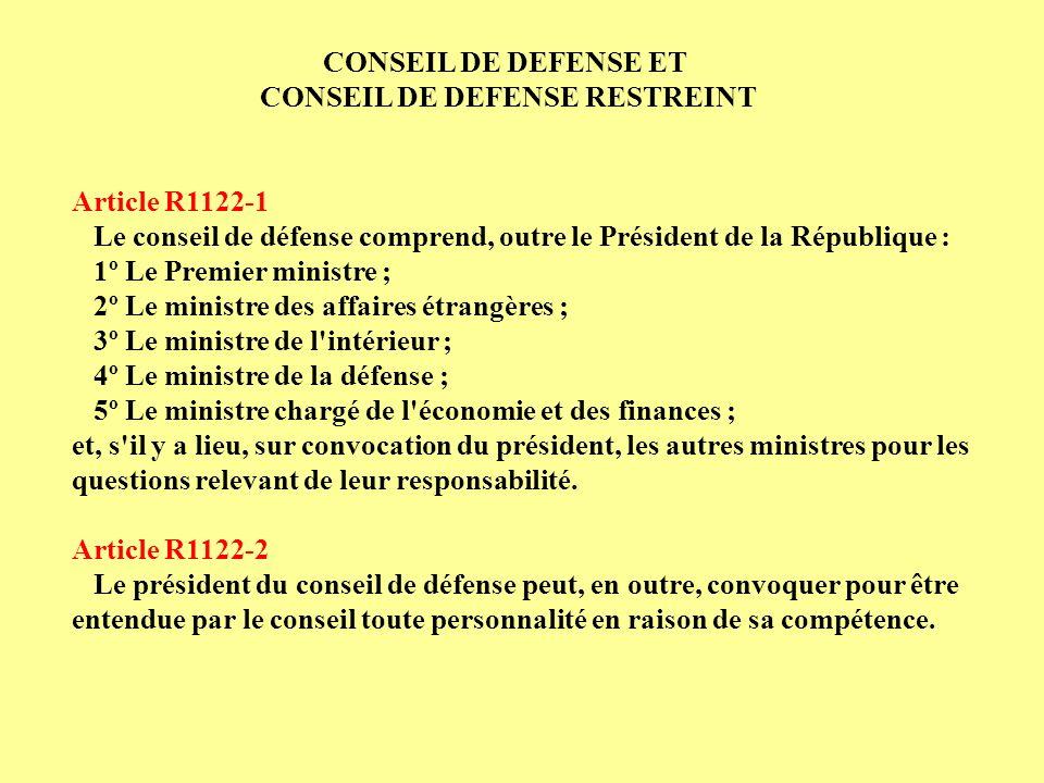 Article R1122-1 Le conseil de défense comprend, outre le Président de la République : 1º Le Premier ministre ; 2º Le ministre des affaires étrangères