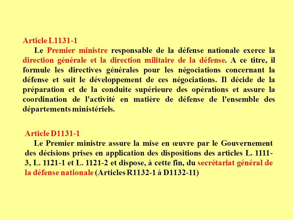 Article D1131-1 Le Premier ministre assure la mise en œuvre par le Gouvernement des décisions prises en application des dispositions des articles L. 1