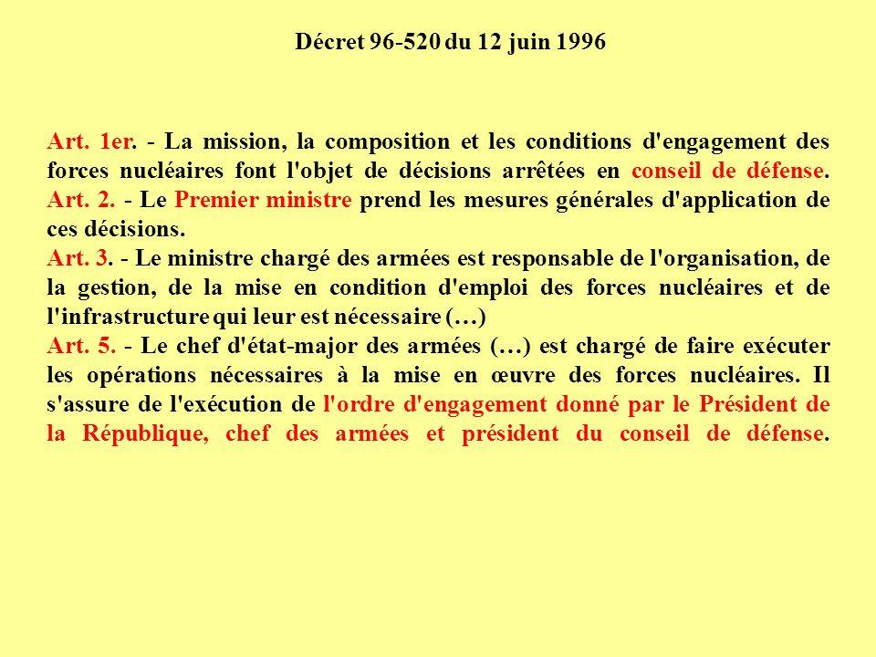 Art. 1er. - La mission, la composition et les conditions d'engagement des forces nucléaires font l'objet de décisions arrêtées en conseil de défense.
