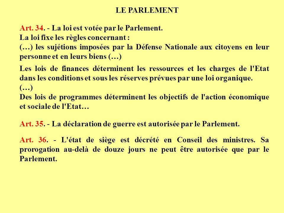 Art. 34. - La loi est votée par le Parlement. La loi fixe les règles concernant : (…) les sujétions imposées par la Défense Nationale aux citoyens en